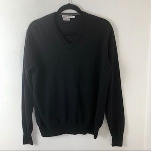 Peter Millar Black Merino Wool V Neck Sweater sz L